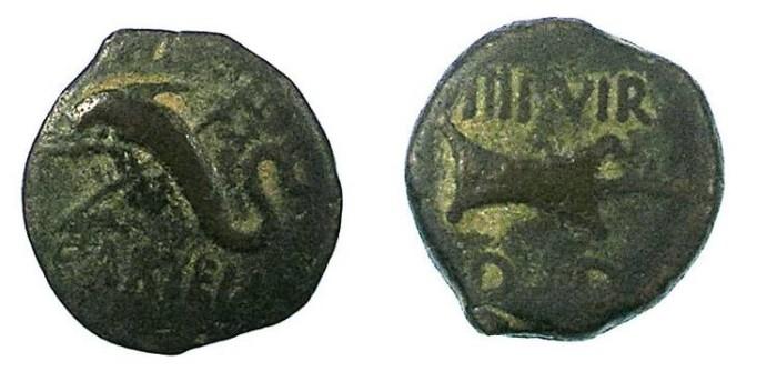 Ancient Coins - SPAIN.CARTEIA.Circa 20 BC.AE.16mm