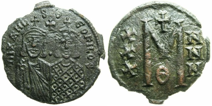 Ancient Coins - BYZANTINE EMPIRE.Michael II The Amorian AD 820-829 with Theophilus Augustus from AD 821.AE.Follis.