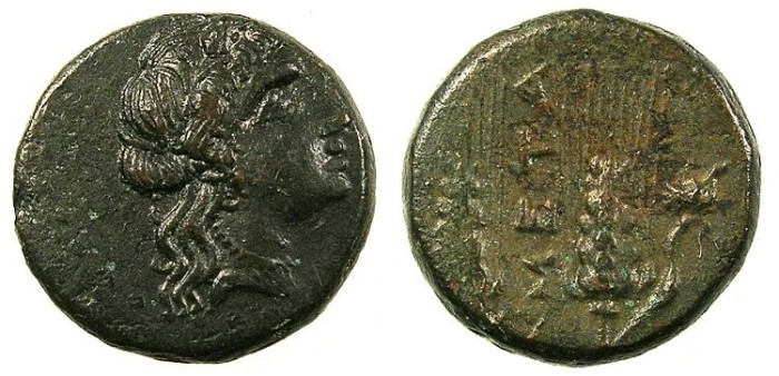 Ancient Coins - LUCANIA.METAPONTUM.4th-3rd Cent.BC.AE.15.Persephone.Rev.Two Barley ears.