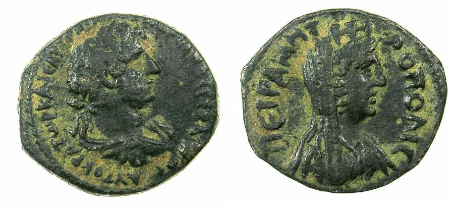 Ancient Coins - SYRIA.DECAPOLIS.PETRA.Hadrian AD 117-138.AE.22mm. Reverse.Bust of Tyche.
