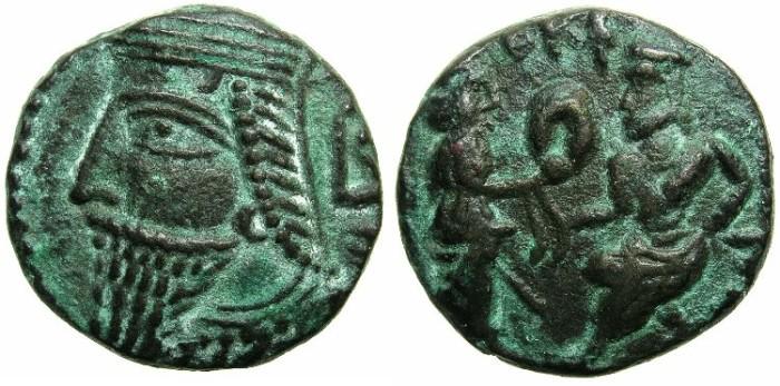 Ancient Coins - PARTHIA.Vologases VI AD 208-228.Billon Tetradrachm AD 217/18.~~~Last coinage of the Parthian Empire.