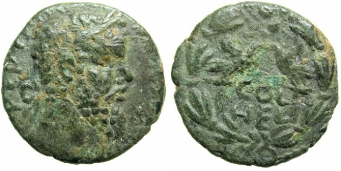 Ancient Coins - SYRIA.COELE-SYRIA.HELIOPOLIS.Septimius Severus AD 193-211.AE.21.Two legionary eagles.