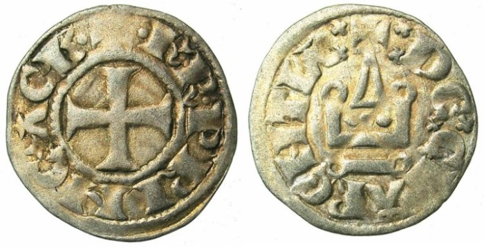 World Coins - CRUSADER.ACHAIA.Charles I or II of Anjou C.1278-1289.Bi.Denier.Clarentza mint.