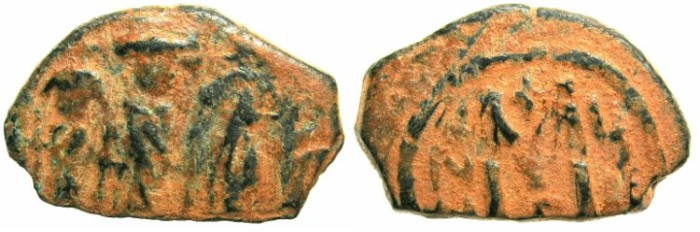 Ancient Coins - BYZANTINE EMPIRE.CYPRUS.Heraclius AD 610-641.AE.Follis AD 626-627. ~~~SYRIAN IMITATION.