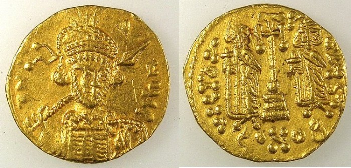 Ancient Coins - BYZANTINE EMPIRE.Constantine IV AD 669-685.AV.Solidus.Helmet with frontal plume