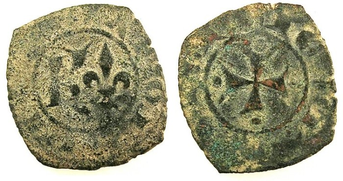 Ancient Coins - ITALY.SICILY.Charles I of Anjou,king of Sicily 1266-1282.Bi.Denaro.Brindisi mint