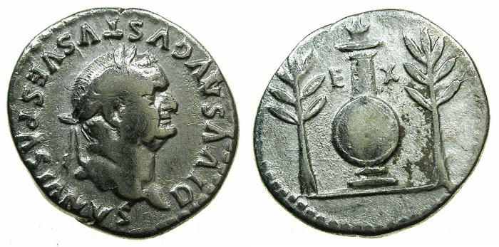 Ancient Coins - ROME.Divus Vespasian died AD 79.AR.Denarius, struck by TITUS AD 80-81.