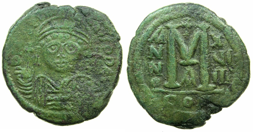 Ancient Coins - BYZANTINE EMPIRE.Justinian I AD 527-565.AE.Follis.struck AD 547/48.Mint of CONSTANTINOPLE.