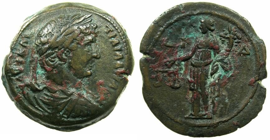 Ancient Coins - EGYPT.ALEXANDRIA.Hadrian AD 117-138.AE.Hemidrachm, struck AD 129/30.~#~.Dikaiosyne standing.
