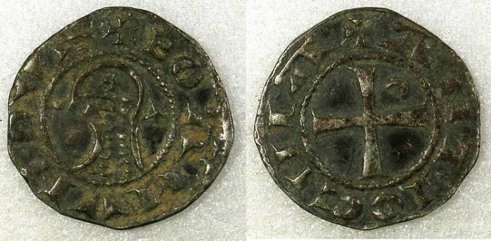 Ancient Coins - CRUSADER STATES.Principality of ANTIOCH.Bohemond IV 2nd period 1219-1233 or Bohemond V 1233-1251.Bi.Denier.class O.