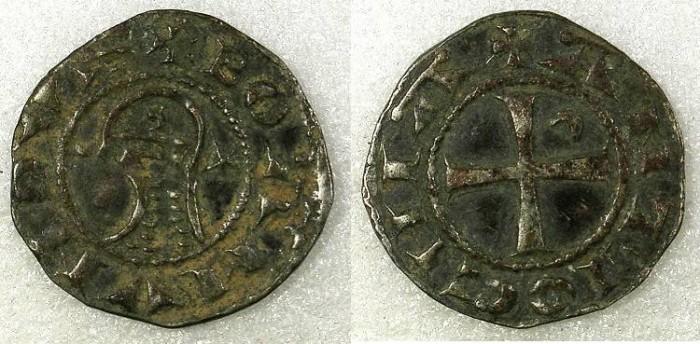 Ancient Coins - Crusader Antioch Bohemond IV 1201-33 orBohemond V 1233-51 Bi.Denier 1.11g Class O