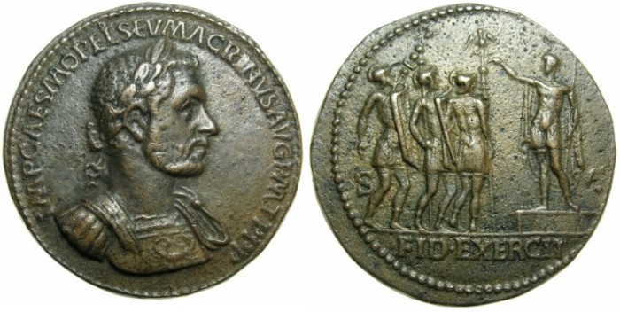 "Ancient Coins - ROMAN.Macrinus AD 217-218.AE.""Medallion"" after Giovanni Cavino 1500-1570.early 19th cent AD."