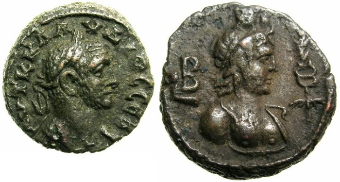 Ancient Coins - EGYPT.ALEXANDRIA.Claudius II AD 268-270.Billon Tetradrach.AD 268/69.~~~bust of HERMANUBIS.
