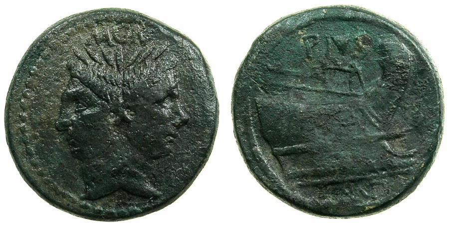 Ancient Coins - ROMAN.CN Pompey Magnus ( Pompey the Great ) 45-44 BC.AE.As. Sicilian mint, unknown location.