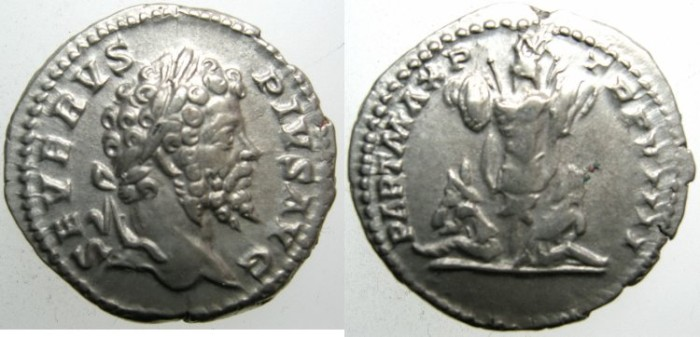 Ancient Coins - ROME.Septimius Severus AD 193-211.AR.Denarius AD 201.Trophy and two captives.