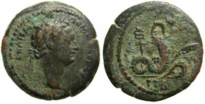 Ancient Coins - EGYPT.ALEXANDRIA.Domitian AD 81-96.AE.Diobol.AD 92/93.~#~Agathodaemon.