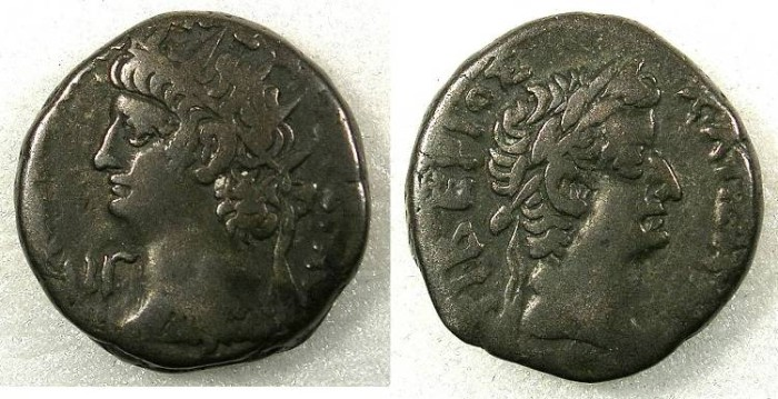 Ancient Coins - EGYPT.ALEXANDRIA. Nero AD 54-68 Bi.Tetradrachm. Year 13 =AD 66-67.~#~.Laurate head of Tiberius