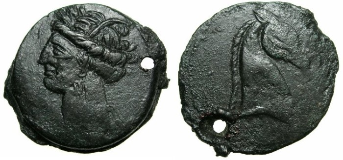 Ancient Coins - ZEUGITANA.CARTHAGE.Time of first Punic war circa 264-241.AE.30mm.SARDINIAN mint.Head of Tanit.~#~.Head right of Horse.