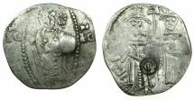 World Coins - SERBIA.Stefan Uros IV as Tsar AD 1345-1355.AR.Dinar with Bulgarian countermark concentric circle.