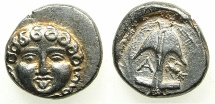 Ancient Coins - BLACK SEA.Apollonia Pontika.Mid to Late 4th cent BC.AR.Drachma.~~~ Gorgoneion with hair of snakes