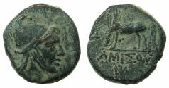 Ancient Coins - PONTUS.AMISUS.Mithradates VI The Great circa 120-63BC.AE.23.1mm.Mithradates in the guise of Persus.~#~.Pegasus drinking.