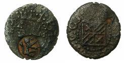 World Coins - SPAIN.Philip II AD 1556-1598.AE.Dinero.Vich. countermark Rampant Lion right