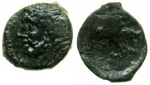 Ancient Coins - APULIA.ARPI.circa 3rd cent.BC.AE.16.2mm. Zeus laurate.~#~.Forepart of boar.