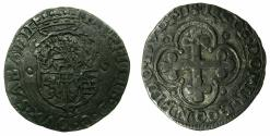 World Coins - ITALY.SAVOY.Emanuele Filiberto as Duke 1553-1580.Billon Soldo.Type II. 1570B.Mint of Borg.