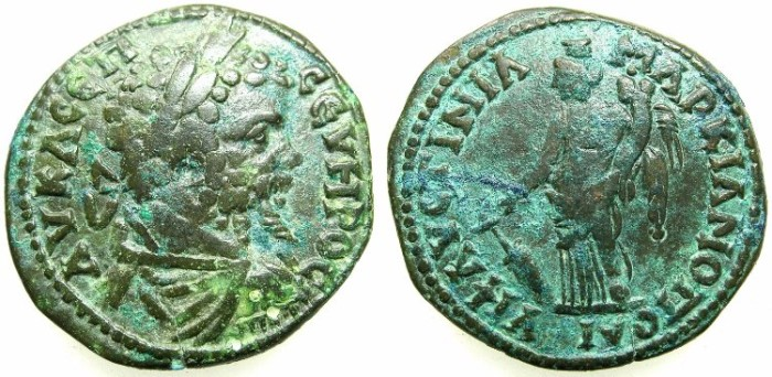 Ancient Coins - THRACE.MOESIA INFERIOR.MARCIANOPOLIS.Septimius Severus AD 193-211.AE26.1mm.~#~.Tyche standing.