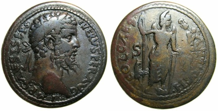 Ancient Coins - PISIDIA.ANTIOCH.Septimius Severus AD 193-211.AE.34.5mm.~#~Men stading holding Nike.