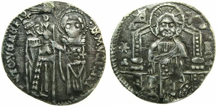 Ancient Coins - ITALY.VENICE.Antonio Venier AD 1382-1400.AR.Grosso.Sigla I.