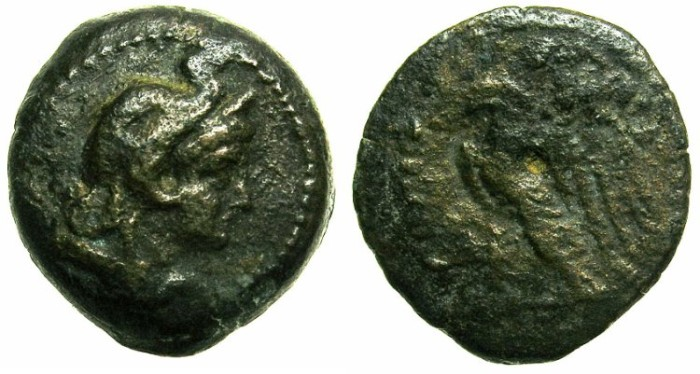 Ancient Coins - EGYPT.Ptolemaic Empire.Ptolemy V Epiphanes 205-180 BC.AE.Hemiobol.~~~Head of Alexander The Great.~#~Eagle.