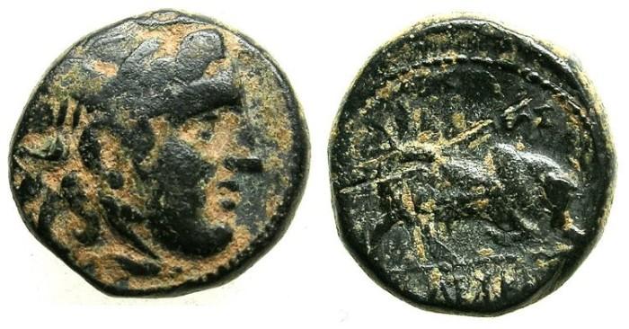 Ancient Coins - SELEUCID EMPIRE.SYRIA.Seleucus I Nikator 312-280 BC.AE.17.Winged Gorgon.Bull