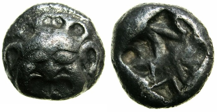 Ancient Coins - MYSIA.PARION.5th cent BC.AR.Drachm.~~~Gorgorneion.~#~incuse.