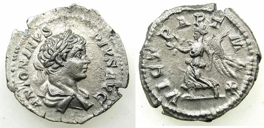 Ancient Coins - ROMAN.Caracalla Augustus with Septimius Severus AD 198-209.AR.Denarius undated Group I c.AD 201-206.Mint of ROME.~~~Victory over the Parthians.
