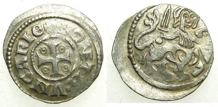 Ancient Coins - HUNGARY.Stephen V 1270-1272.AR.Denar, anonymous issue.~#~.Centaur.
