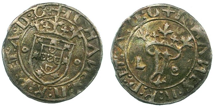 Ancient Coins - PORTUGAL.John II 1481-1495.AR.Real (Vintem).Lisbon mint.
