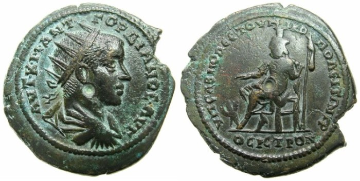 Ancient Coins - MOESIA INFERIOR.NIKOPOLIS AND ISTRUM.Gordian III AD 238-244.AE.29.4mm.~#~.Hades-Serapis enthroned.*****STRUCK ON A BROAD FLAN ******