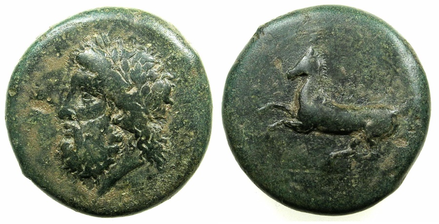 Ancient Coins - SICILY.SYRACUSE.Timoleon and 3rd Decomcracy circa 344-317 BC.AE.Dilitron.
