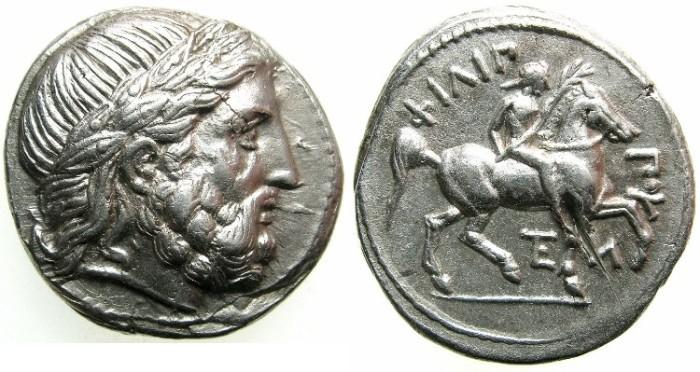 Ancient Coins - MACEDON.Philip II 359-336 BC.AR.Tetradrachm.Posthumus issue.Mint of AMPHIPOLIS.~~~Zeus laurate.Rider