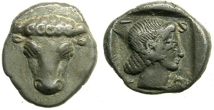 Ancient Coins - THESSALEY.PHOKIS.Circa 480-460 BC.AR.Hemidrachm.Facing bulls head.Artemis.