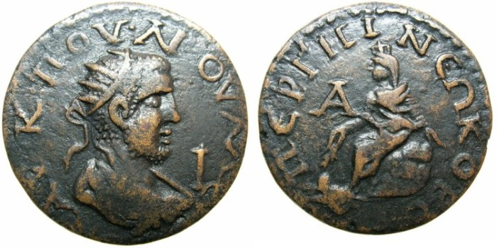 Ancient Coins - PAMPHYLIA.PERGA.Valerian AD 253-260.AE.28.Tyche seated on rock,swimmer below.