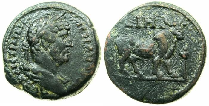 Ancient Coins - EGYPT.ALEXANDRIA.Hadrian AD 117-138.AE.Diobol, struck AD 133/34.~#~.Apis bull.