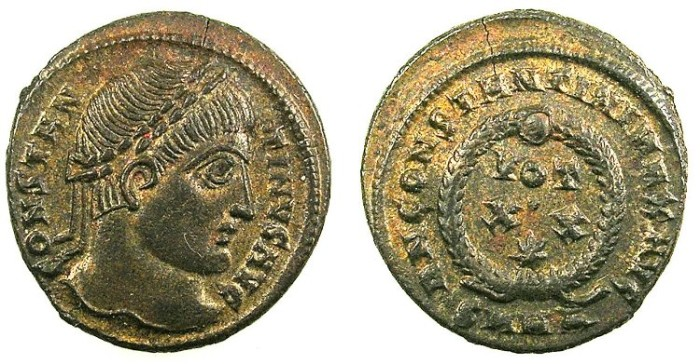 Ancient Coins - ROMAN.Constantine The Great AD 307-337.AE.Follis.Wreath.Mint of Heraclea