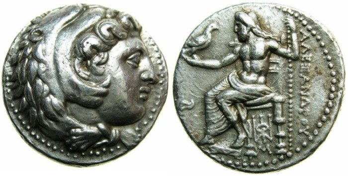 Ancient Coins - MACEDONIAN EMPIRE.Alexander III The Great 336-323 BC. AR.Tetradrachm.Posthumus issue struck c.325-323 BC.Mint of BABYLON.~~Transitional style with Zeus'left leg drawn behind right
