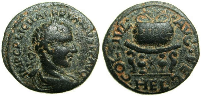 Ancient Coins - SYRIA.HELIOPOLIS.Valeerian I AD 253-260.AE.23mm.~#~.Agnostic urn set on table.