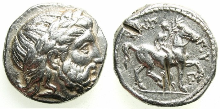 Ancient Coins - MACEDON.Philip II 359-336 BC.  AR.Tetradrachm.Mint of AMPHIPOLIS.