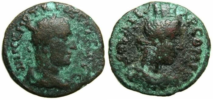 Ancient Coins - JUDAEA.AELIA CAPITOLINA ( JERUSALEM ).Trajan Decius AD 249-251.AE.18.5mm.~#~Bust of TYCHE.