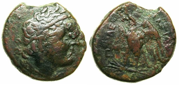 Ancient Coins - EGYPT.Ptolemy I Soter 323-283 BC.AE.20.Bust of Ptolemy.Eagle.Mint in Cyrenaica:Cyrene.