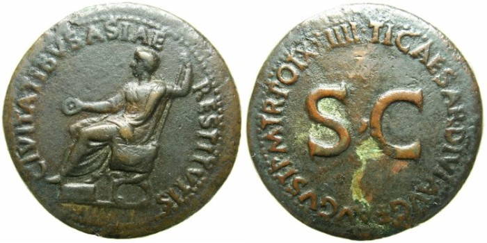 Ancient Coins - ROMAN.Tiberius AD 14-37.AE.Sestertius, struck AD 21-22.Mint of ROME.~~~Tiberius enthroned holding patera and sceptre.